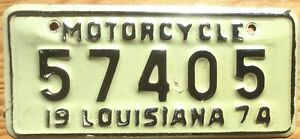 1974 Louisiana Motorcycle License Plate Number Tag - $2.99 Start