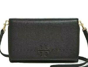 Orig ~$300 Tory Burch McGraw Crossbody Wallet Bag. Black. Pebbled Leather