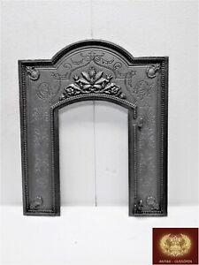Wunderschöne alte Ofenplatte ohne Tür Gründerzeit Gusseisen Bilderrahmen Spiegel