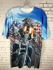 PIT BULL MOTORCYCLE SHIRT MEDIUM MEN'S TEE ATHLETIC USA 4TH OF JULY FUNNY C41