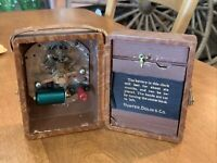 VINTAGE ANTIQUE BREVETE MYSTERY ELECTRIC LEATHER CASE CLOCK HUNTER DULIN CO