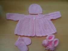 Hand Knitted Pink Matinee Jacket Hat Mitts and Bootee Set