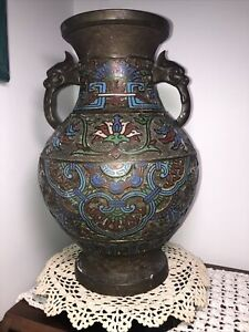 "LARGE 12"" ANTIQUE JAPANESE ARCHAIC BRONZE CHAMPLEVE CLOISONNE VASE 7LBS. NICE"