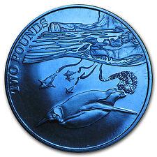 2016 British Antarctic Territory Blue Titanium £2 Penguin Proof - SKU #96348