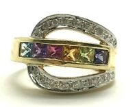 14K Yellow Gold Colorful Gemstone Diamond Pave Belt Buckle Cocktail Band Ring