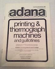 Adana impresión y termógrafo máquinas y guillotinas Folleto