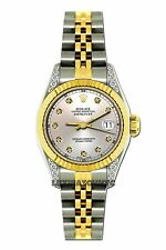 LADIES 26MM ROLEX WATCH 18K GOLD SS DIAMOND CASE WATCH WITH CHAMPAGNE DIAL