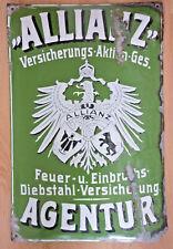 Emailschild Allianz um 1900, extreme Rarität!