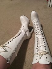 "Funtasma Exotica 2020 Women's White Lace Up 4"" Heel Dancer Boots Costume Pleaser"