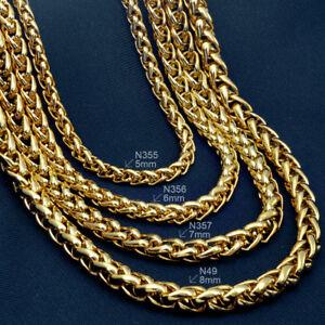 18K gold vacuum plating  Men's Weaved 60cm Lenght Heavy Chain Necklace