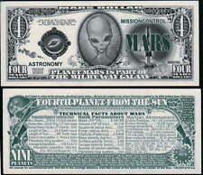 Mars 4th Rock Alien Dollar Bill Fake Play Funny Money Novelty Note + FREE SLEEVE