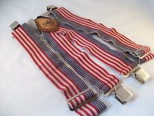 CLC Tool Works Heavy Duty Work Suspenders Leather Clip On Braces USA Flag