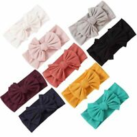 9 Pack Knotted Hair Bow Nylon Wide Headbands Turban Headwraps for Baby Girls