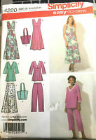 Simplicity 4220 Misses Skirt Cropped Pants Pullover Dress Tunic & Bag Size 16-24