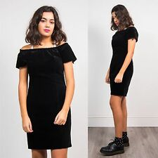 VINTAGE 90'S BLACK VELVET STRAPPY RUCHED BARDOT NECKLINE DRESS MINI CASUAL 12