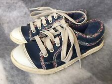 CLARKS GIRLS BLUE LEATHER FLOWER SHOE TRAINERS SIZE 11 G UK