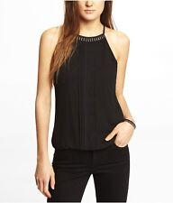 Expresss Necklace Trim High Neck Blouson Cami In Black - Size XS