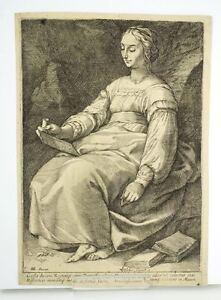 After Hendrik Goltzius Engraving Muse Clio antique master print 17c.