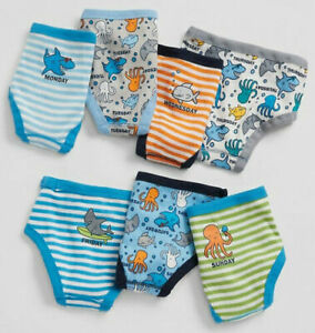Baby Gap Factory Sea Shark 7 Days-of-the-Week Briefs Underwear 2 2T 3 3T $35 NWT