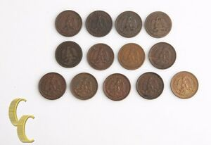 1911-1935 Mexican Un Centavo Lot (Fine-UNC, 13 coins) Mexico City Mo 1c KM-415