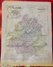 Old Map 1900 France Département la Dordogne Périgueux Sarlat Bergerac Cadouin
