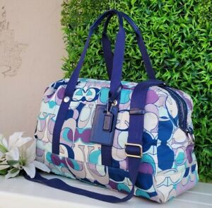 COACH poppy weekender scarf print KYRA TRAVEL duffle BAG 77303 tote blue shouldr