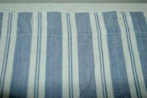 Blue White Stripe Fabric SHOWER CURTAIN Cotton Nautical Country Farmhouse VGC L4