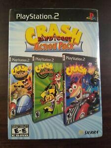 Crash Bandicoot Action Pack PlayStation 2 PS2 Twinsanity Tag Team Nitro Kart NEW