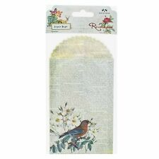 "Vintage Set of 6 Cream Newspaper Style ""Bird"" Printed Paper Gift Bags 10x20cm"