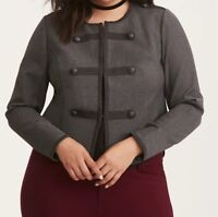 Torrid Charcoal Grey Fitted Military Jacket 3X 22 24 #17584