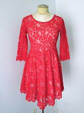 VGC Free People Sheer Red Floral Lace Dress High-Low Scarf Hem 4