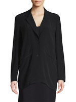 $298 NWOT EILEEN FISHER WOMENS BLACK NOTCH COLLAR LONG JACKET BLAZER SIZE 2