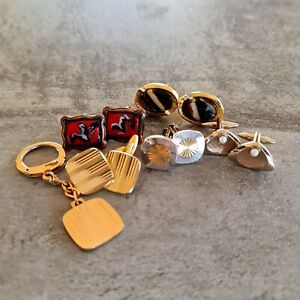 Vintage Lot of 5 Cufflinks Goldtone Silvertone Pearl Enamel Unisex Mid Century
