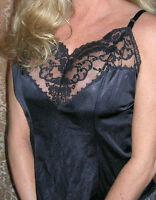VinTage Black Cami Lace Trim Medium Black Nylon USA