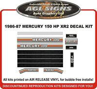 1986 1987 MERCURY 150 hp XR2 Outboard Decals reproduction