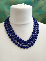 Vintage Cobalt Royal Blue Glass Bead Multistrand Necklace