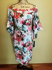 NWT Womens bebe Sheath Dress Floral Fitted Blue Multi 3/4 Bell Sleeves Size 6
