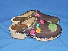 Moheda Toffeln 39 8 8.5 Sweden Clogs Brown Leather Polka Dot Shoes Pink Blue