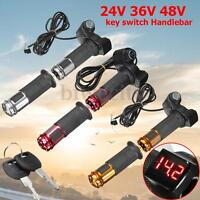 Electric Scooter Bike Throttle 24V 36V 48V 60V Grip Handlebar LED Digital Meter
