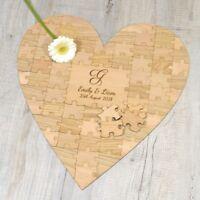 Heart Shaped Jigsaw Puzzle Piece Wooden Wedding Guestbook Personalised Oak Beech