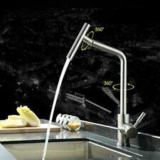 Kitchen Sink Mixer Tap Single Handle Stainless Steel Brushed Nickel Faucet UK