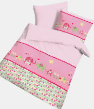 Baby Bettwäsche 100x135  cm Elefanten rosa Baumwolle B Ware