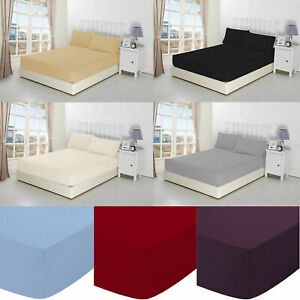 Percale 25 cm deep Fitted Bed Sheet Poly Cotton Single Double King Super King