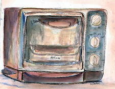 Toaster Oven 8x10 Watercolor Illustration Original Art Painting by Penny StewArt