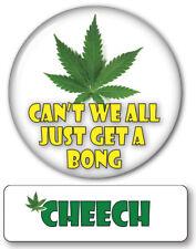 CHEECH OF CHEECH /CHONG PIN NAME BADGE & WEED BONG BUTTON HALLOWEEN COSTUME PROP