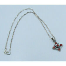PETITE .925 Sterling Silver Natural Red Bamboo Coral Chain Necklace