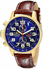 Invicta Gold Oro Watch Reloj Man Hombre Lefty Crystal Window Hand Leather Arm