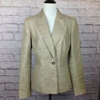 Antonio Melani Blazer Jacket Women 6 Linen Blend Beige Tan Career