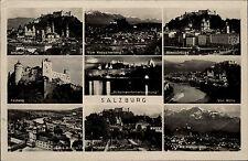 Salzburg Mehrbildkarte 1940 Altstadt Festung Staatsbrücke Mirabellgarten u.a.