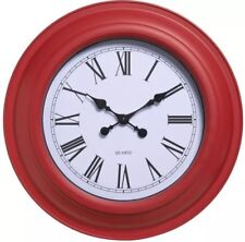 Red Station Roman Numerals Wall Clock 47cm Vintage Kitchen Shabby Chic
